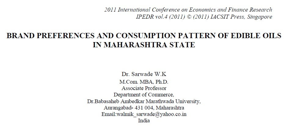 Brand Preference and Consumption Pattern of Edible Oils in Maharashtra