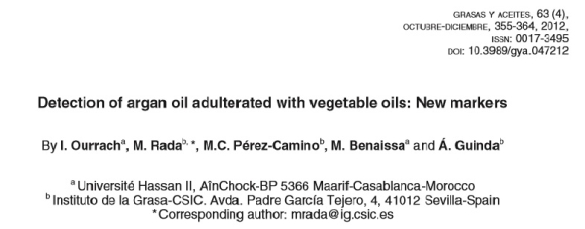 Detection of Argan Oil Adulterated with Vegetable Oils: New Markers
