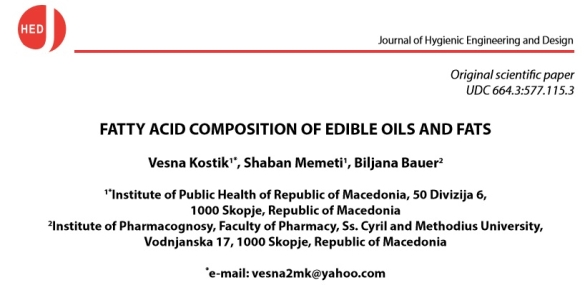 Fatty Acid Composition of Edible Oils & Fats