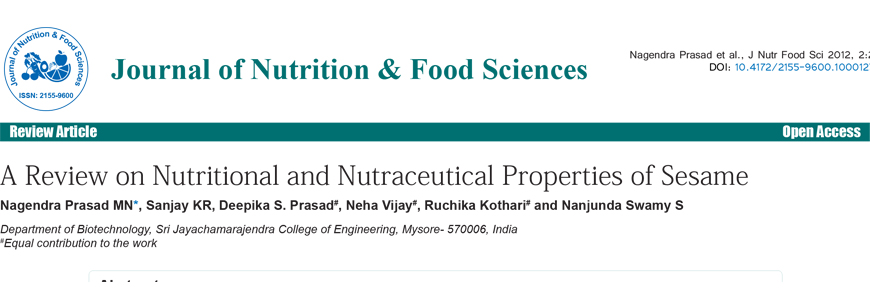 A Review on Nutritional and Nutraceutical Properties of Sesame by Nagendra Prasad MN et. al. (2012)